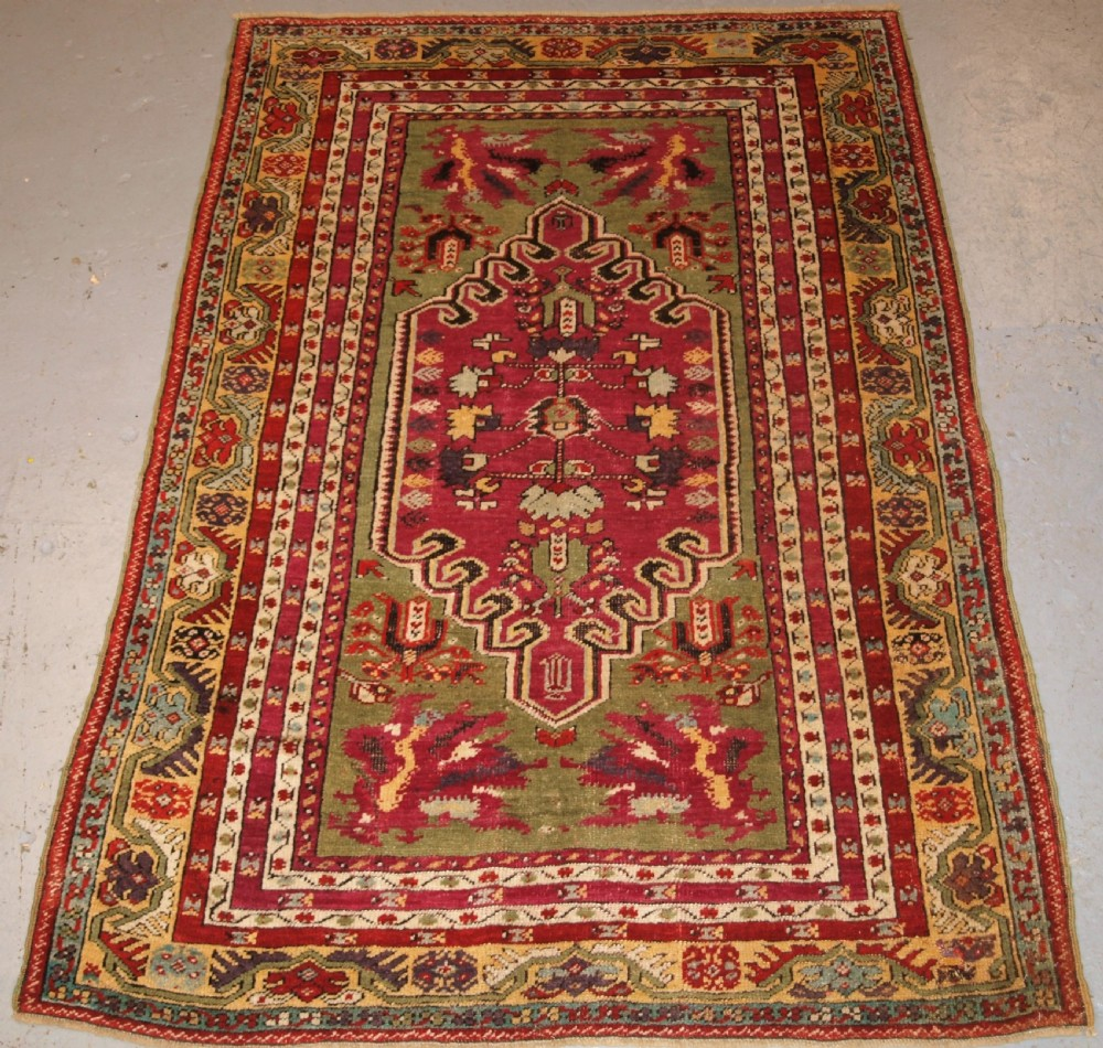antique turkish kirsehir village rug wonderful colour traditional design late 19th century
