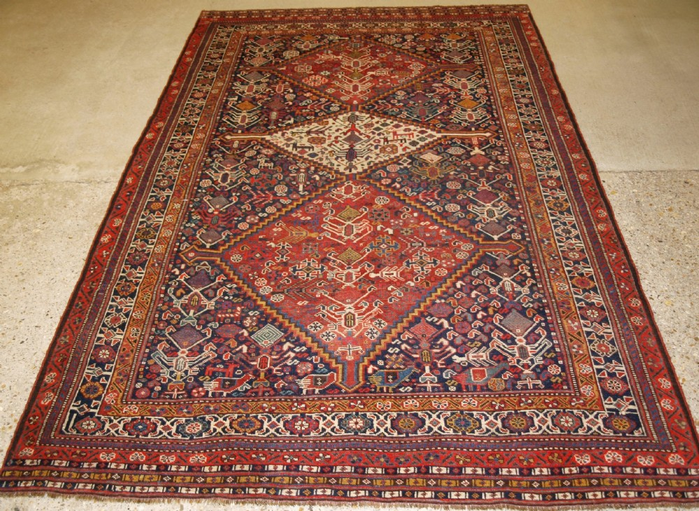 antique south west persian tribal qashqai rug beautiful drawing with lots of animals late 19th century