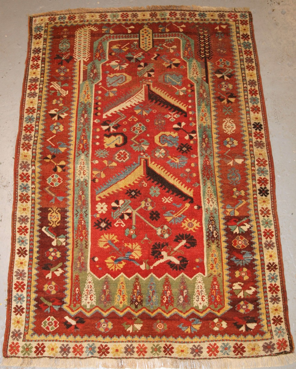 antique turkish milas prayer rug wonderful early example 2nd half 19th century