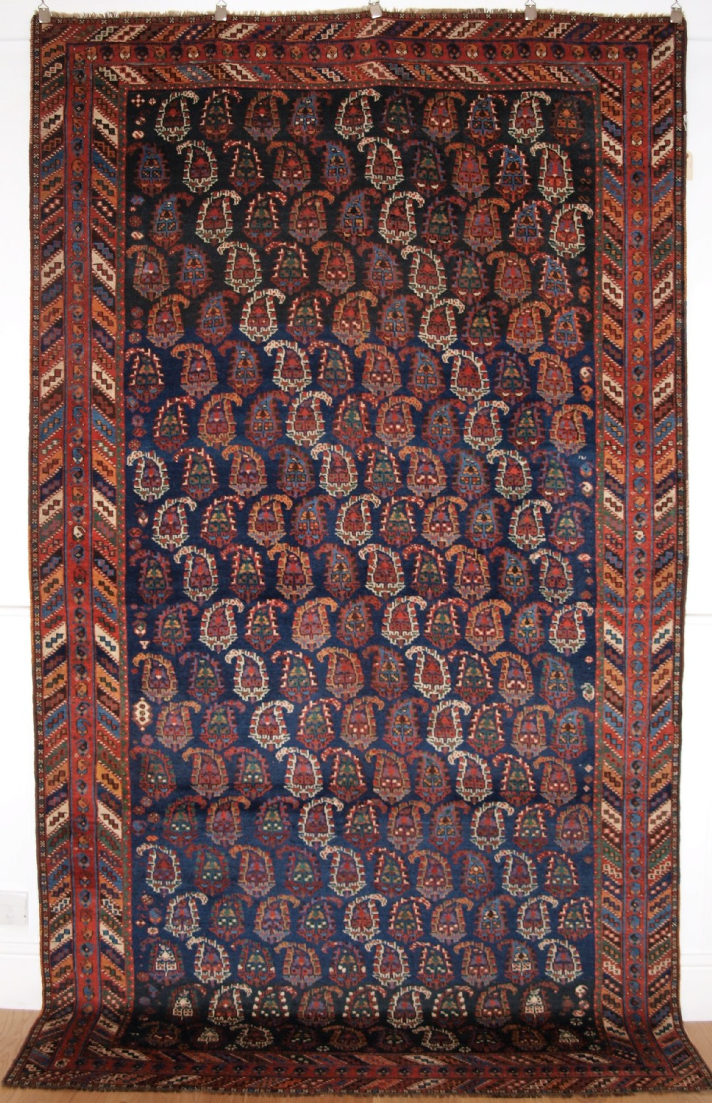 antique afshar long rug with all over boteh design superb colours circa 1890