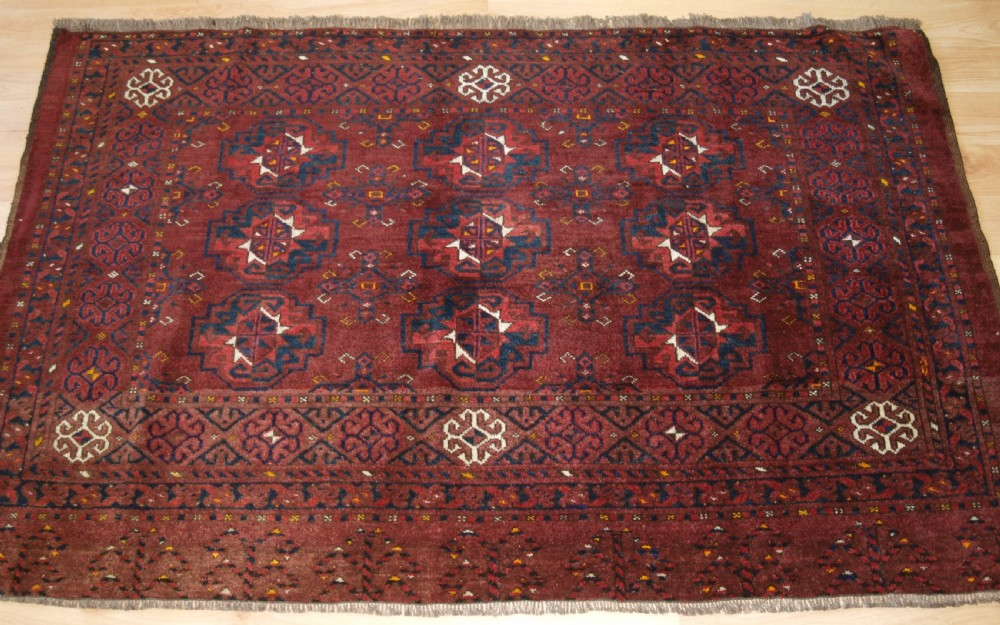 antique ersari turkmen chuval 9 guls excellent condition circa 1900