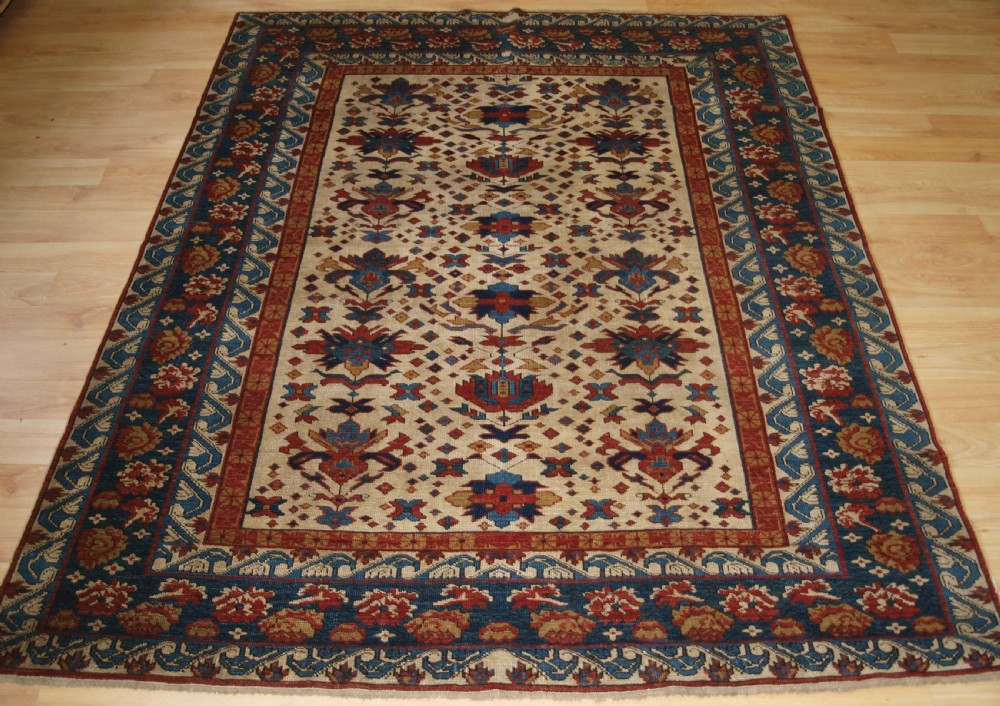 old caucasian shirvan rug with seichur palmette design about 30 years old