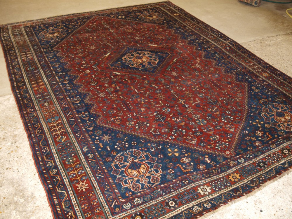 antique tribal qashqai carpet good colour circa 1900