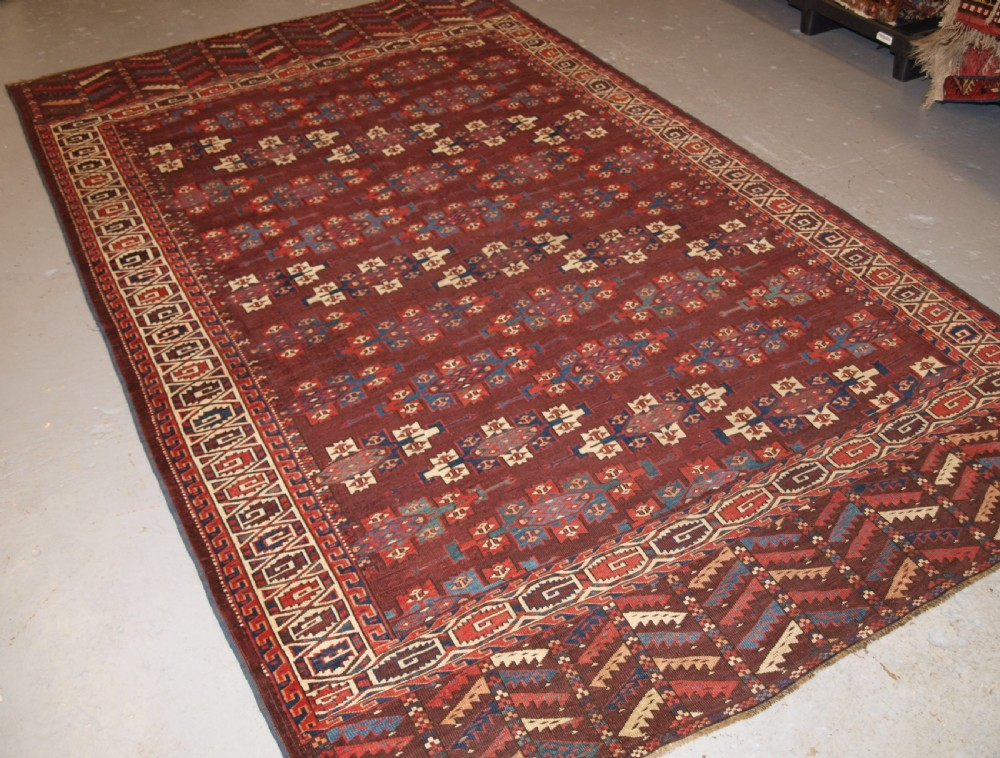antique yomut turkmen main carpet with kepse guls 2nd half 19th century