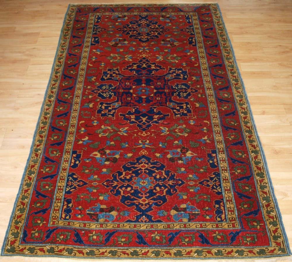 antique turkish star ushak design rug beautiful example circa 190020