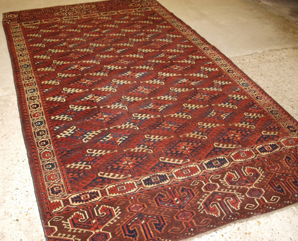 antique yomut turkmen carpet with superb large elem panels circa 185070