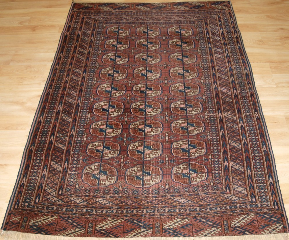 antique tekke turkmen rug soft colour lived with look circa 1900