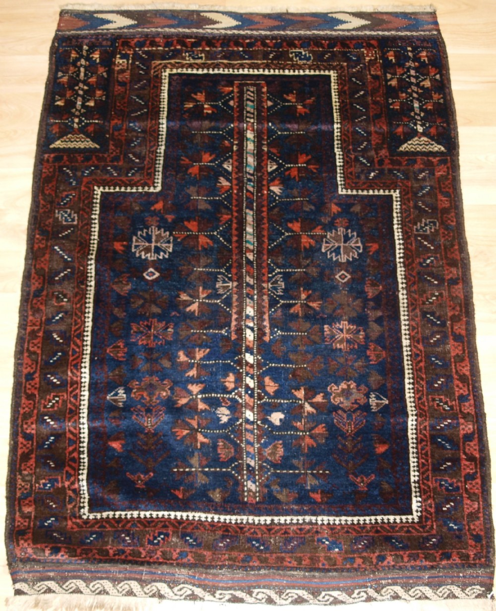 antique baluch prayer rug blue ground with tree of life late 19th century