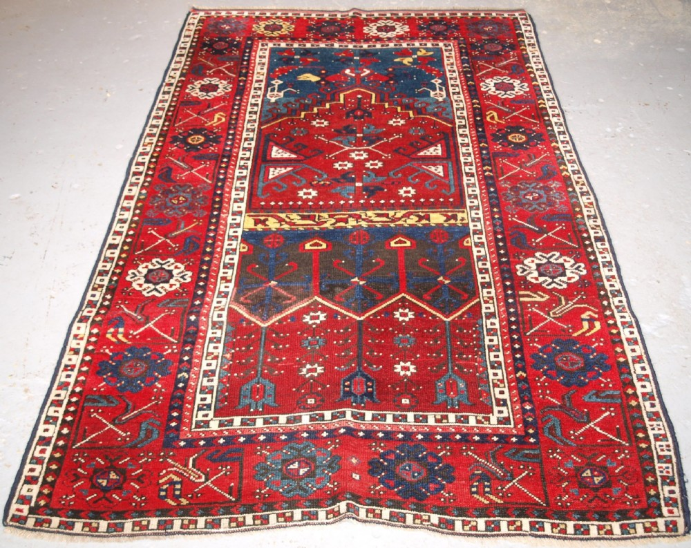 antique turkish village prayer rug konya region circa 1900