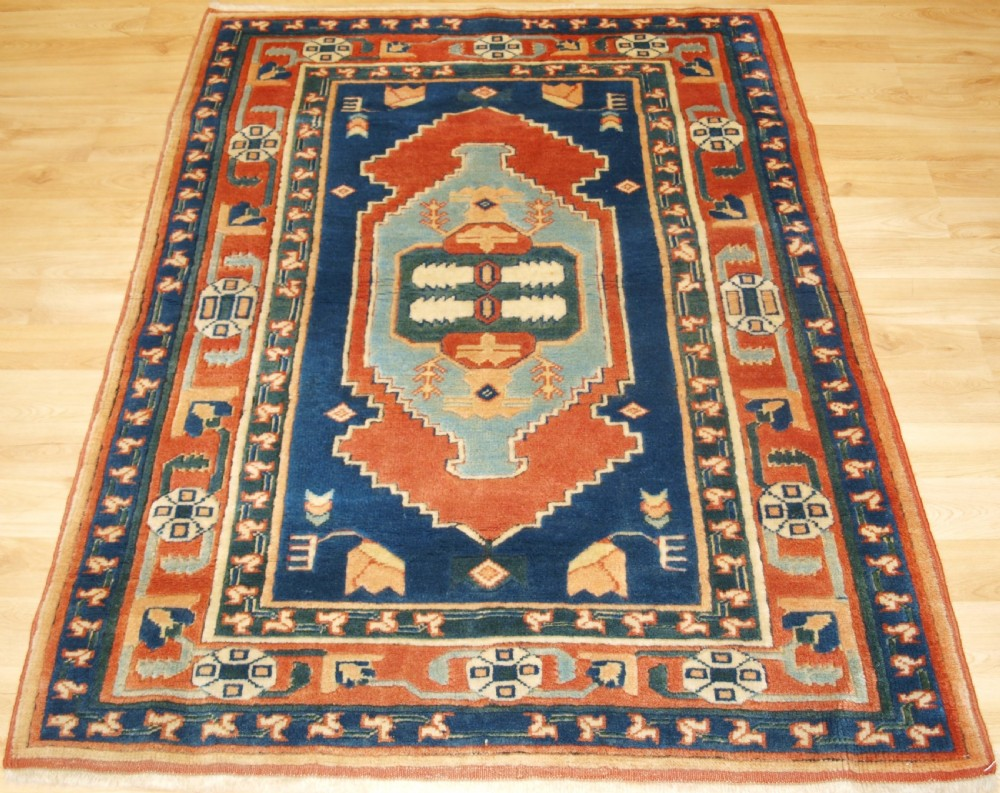 hand knotted turkish konya rug of recent production